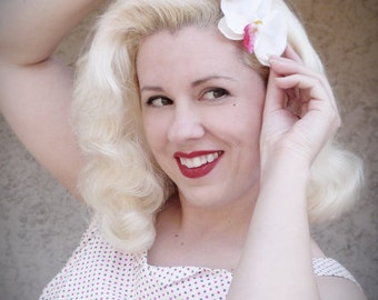Hair Flower White Orchid Hair Clip Vintage Retro Pinup