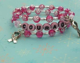 Breast Cancer Bracelet cancer bracelet pink bracelet cancer awareness bracelet courage bracelet breast cancer support bracelet present gift