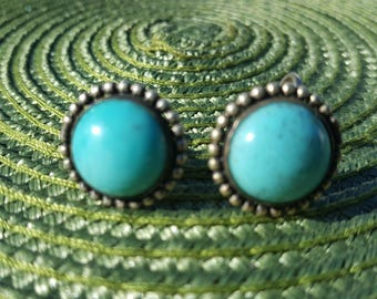 Pretty Turquoise and silver screw back earrings