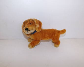 Vintage 1960s Bazi Dashshund puppy sausage dog mohair collectable soft toy with button