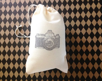 Camera Favor Bag Photographer Gift Bag Wedding Welcome Party Favor Muslin Bag Baby Shower Photography Photo Camera Vintage Rustic Jewelry
