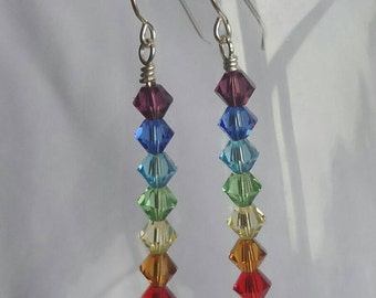Sterling silver swarovski elements bead earrings chakra earrings crystal rainbow earrings