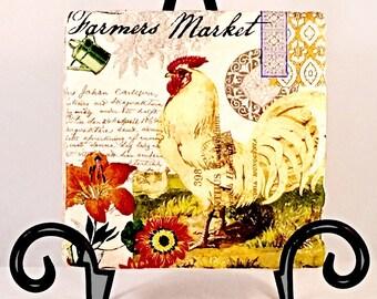 Farmers Market Rooster Coaster Set  ( Set includes 4 Tiles )