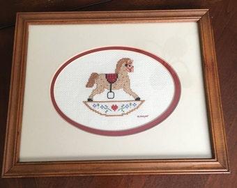 Framed Cross Stitch Rocking Horse - Wood Frame with Cream Matt