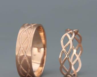 14K Rose Gold Celtic Wedding Rings Set | Handmade 14k rose gold Celtic wedding Rings | His and Hers Wedding Bands Set