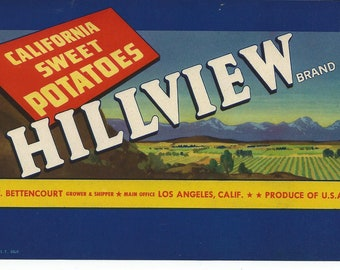 Vintage Fruit Crate Label Hillview Sweet Potatoes NOS