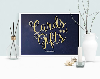 Cards and Gifts Wedding Sign Printable, Navy and Yellow Cards and Gifts Sign, INSTANT DOWNLOAD, Wedding Poster/Sign Starry Night 8.5 x 11