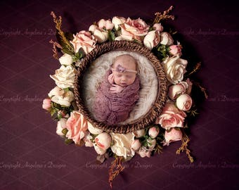 Newborn Flower Basket Digital Backdrop Digital Background