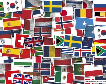 """Country Flag Decals 6"""" Wide International"""