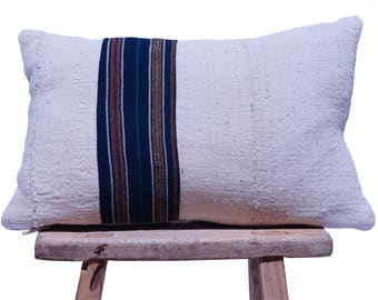 """Authentic African Mudcloth with Vintage Guatemalan Stripe 17""""x11"""""""