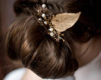 wedding hair comb, bridal hair comb, wedding hair piece, pearls, gold leaf, decorative comb