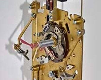 Steampunk clock art sculpture robot brass vintage recycled camera video original artist made