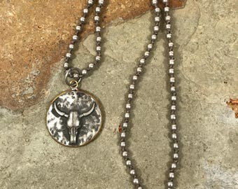 Cowgirl longhorn pendant necklace