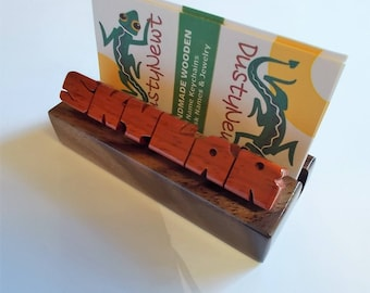 Desk Name / Business Card Holder, Paduak and Walnut Woods, Custom Carved to Order