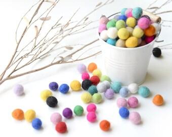 Felt Balls x100 Mixed Colours. 1cm to 1.5cm. Multicolour. Wool. Colourful beads. Bulk. Decor. Decoration. DIY