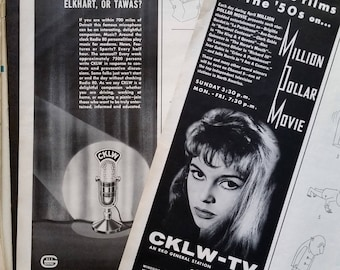 CKLW-TV Detroit-Windsor Channel 9 Vintage TV R.K.O. Million Dollar Movie Bridget Bardot C.K.L.W. Microphone 1/2 page ads 2 pages Ready Frame