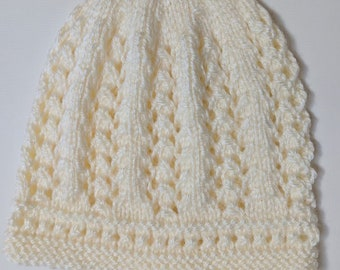 Baby's Knit Hats 9-12 months 1, Baby's Lacy Knit Hat, Baby Boy's Knit Hat, Baby Girl's Knit Hat, Knit Baby Shower Gift, Baby's  Knit Gifts