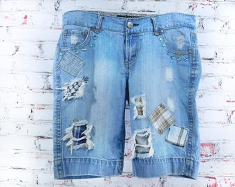 Patched work shorts - walking shorts -destroyed shorts - ripped trashed shorts - grunge shorts - size 13 shorts -  # 34