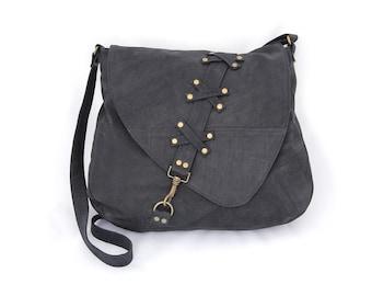 Nubuck leather large shoulder bag