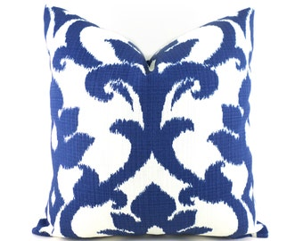Indoor Outdoor Pillow Covers ANY SIZE Decorative Pillows Navy Pillows Richloom Outdoor Basalto Navy Blue