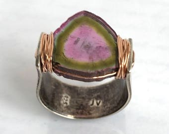 Watermelon Tourmaline Ring, Tourmaline Slice Ring HUGE Collectors Gem - Sterling Rose Gold - As Seen at 2018 Oscars GBK Luxury Gift Lounge