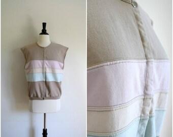 Vintage pastel stripe tan sweatshirt top / retro California beach style sleeveless top / surfer style shirt
