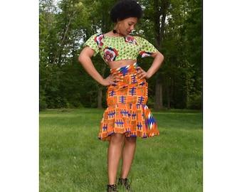Kente high waist pencil skirt