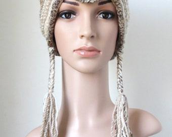 Women's Cat Hat, Wool Beanie in Wheat White and Beige, Crochet Earflap Hat with Tassels