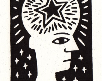 All in my mind. Linocut greeting card.