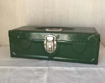 Vintage Tackle Box * Green Metal Tackle Box * Fishing * Tool Box *Cash Box * Craft Box * Painters Box * Industrial Metal Storage Box