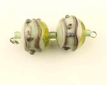 Lampwork Bead Pair, Light  Green, Gray, Purple,  Silver