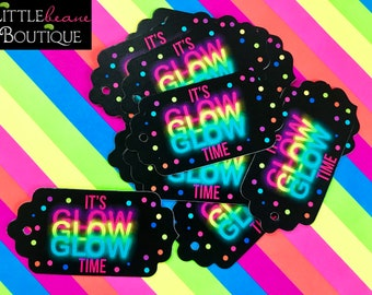 Glow Party Tags, Neon Tags, Glow Party favors,Glow in the dark party,favor Tags,cosmic bowling,rollerskating,blacklight party, gift tags