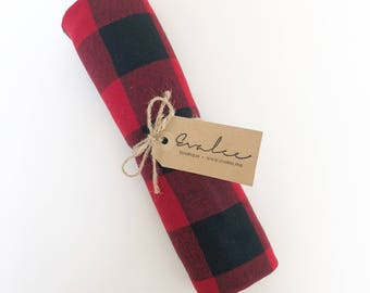 Swaddle Blanket / Red and Black Plaid / Soft Flannel / Extra Large / FREE SHIPPING in USA