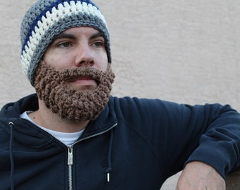 Adult ULTIMATE Bearded Beanie Heather Grey Navy Mix