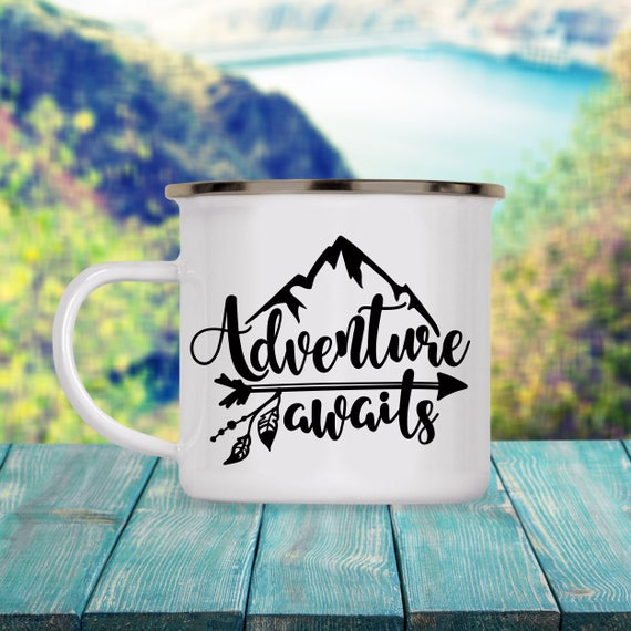 Camp Cup Adventure Awaits - Enamel Camp Mug - Dishwasher Safe