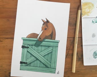 "FINE ART ""Chestnut at Stable Door"" limited edition Giclee Print from watercolor illustration"
