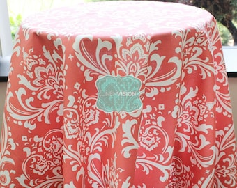 Tablecloth - Premier Prints - OZBORNE Damask  - Coral White - Choose Your Size - Table Linen Wedding Home Decor Dining Kitchen