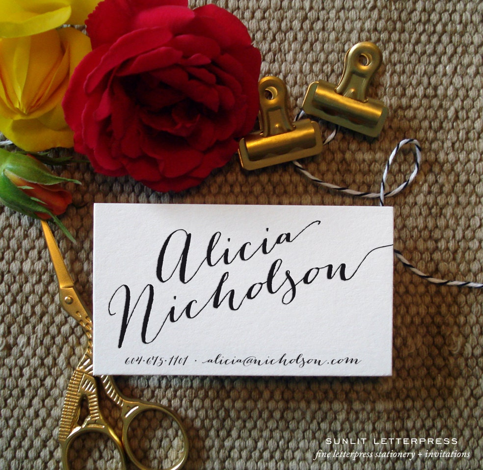 Custom Calligraphy Business Cards 100 Digitally Printed