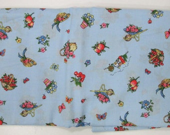 """fabric material Cotton Material, Cranston Fabric,  Spring Garden and Farm 57"""" Wide X 111"""" Long Vintage"""