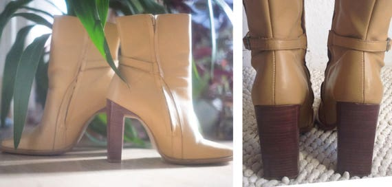 Leather Brazil Square Beige Heels Straps Toe Adjustable casual High elegant Vintage chunky Super Quality Boots wide Genuine High 90s Ankle wP7Sxtqn4A