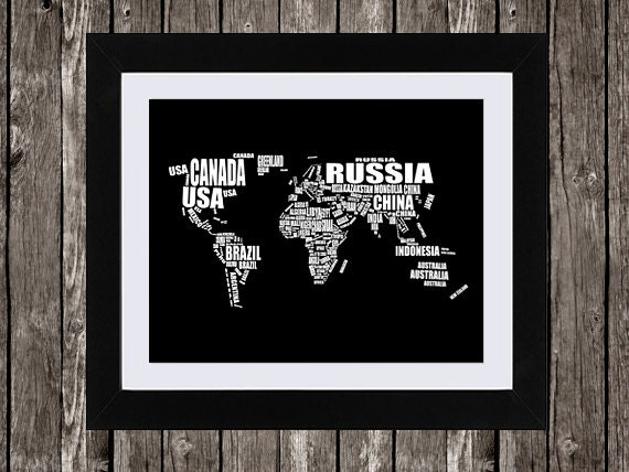 World map printable art typographic map countries of the gumiabroncs Gallery