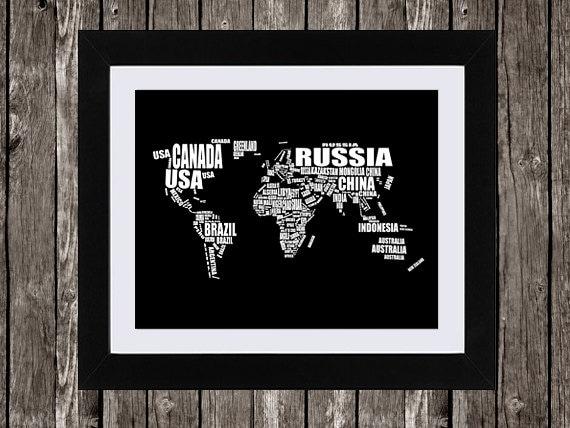 World map printable art typographic map countries of the world map printable art typographic map countries of the world country names word art wall art black white typography 14x11 16x20 gumiabroncs Choice Image
