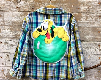 Mickey Mouse Kids Flannel Shirt - Pluto Plaid Button Up - Toddler Clothing - Cartoon Character Pluto the Dog