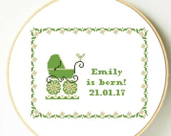 Newborn baby cross stitch pattern. Baby girl baby boy nursery cross stitch Baby shower personalized cross stitch new baby gift baby carrier