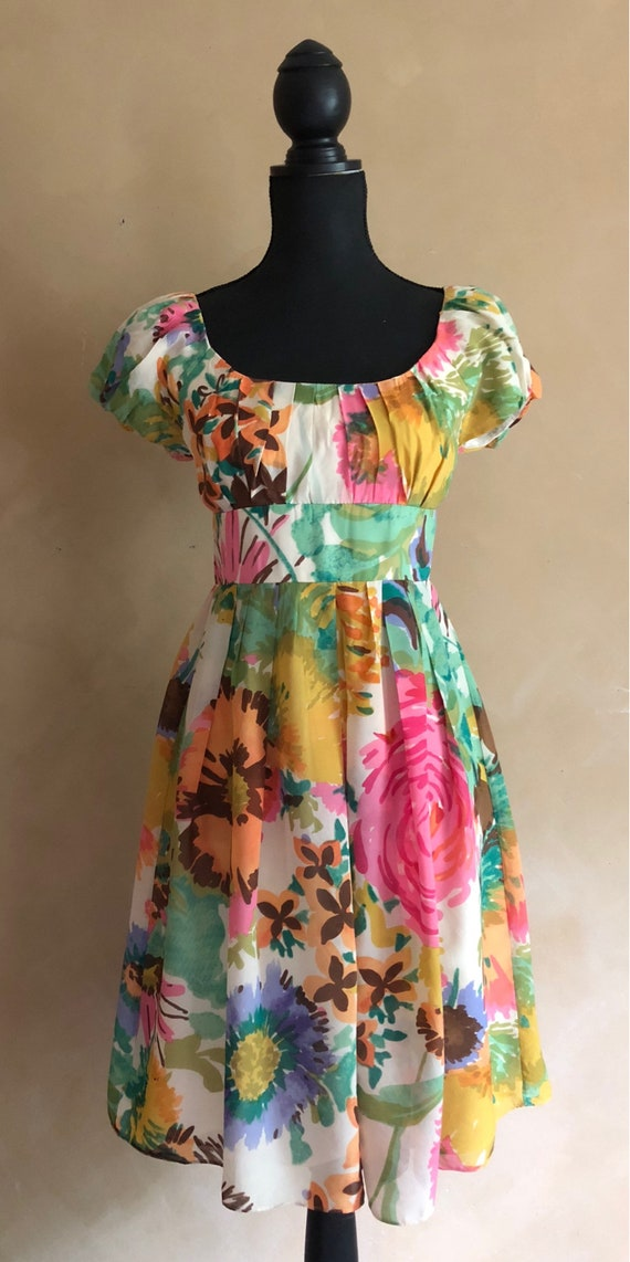 Beautiful Bright Floral Silk Dress