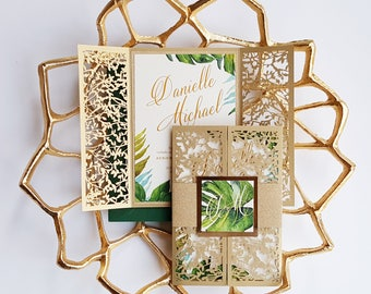 "Tropical gold wedding invitations - Laser cut tropical invite {""Passionate"" design - Sku: PasHel01}"