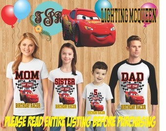 DISNEY CARS Birthday Boy family Shirts design Raglan Long Sleeve Short Sleeve Tank tops Infant/Toddler Sizes Ladies Cut Tshirt onesie