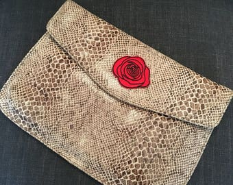 Leather Snake Skin Print Clutch Bag with Rose Embellishment