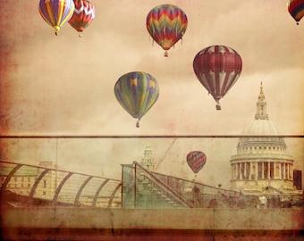 Hot Air Balloons over London Photograph, Fine Art Photography print of hot air balloons over London