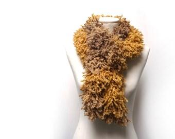 Hand Knit Yellow Beige Scarf - Mongolian Faux Fur Yarn Chunky Neckwarmer - Camel Beige, Mustard Yellow shades - Boho Chic EcoFriendly Scarf